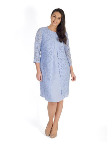 Blue Clarabelle Stretch Crepe & Lace Dress