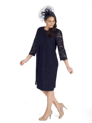 Navy Clarabelle Stretch Crepe & Lace Dress