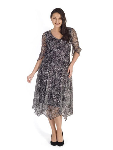 Ivory/Blk Printed Stretch Lace Jersey Dress