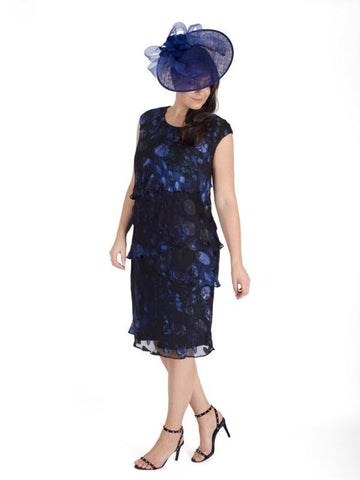 A Midnight Abstract Oval Spot Satin Devoree Multi Layered Dress