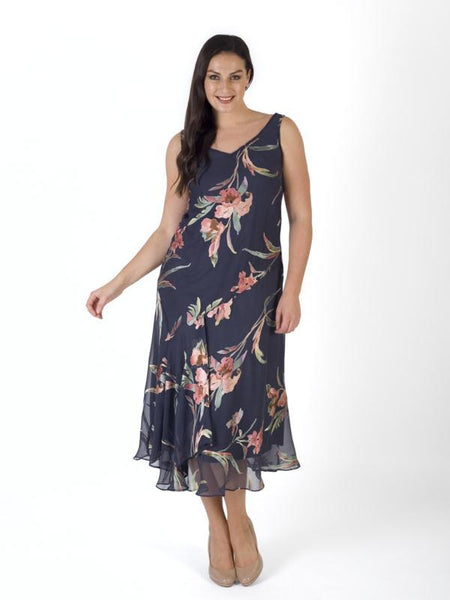 Pewter Multi Iris Floral Satin Devoree Dress