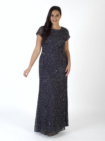 A Gunmetal Allover Sequin Short Sleeve Dress