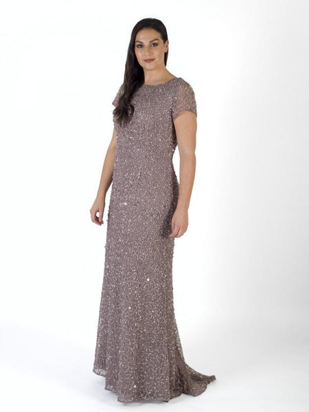 Stone Allover Sequin Short Sleeve Dress