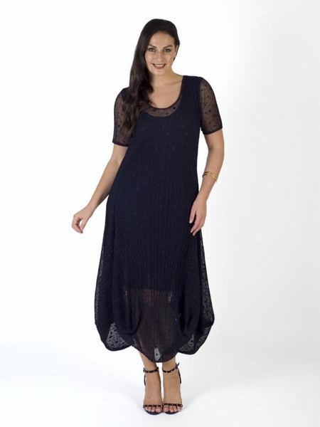 Navy Sheer Spot Crush Pleat Drape Dress