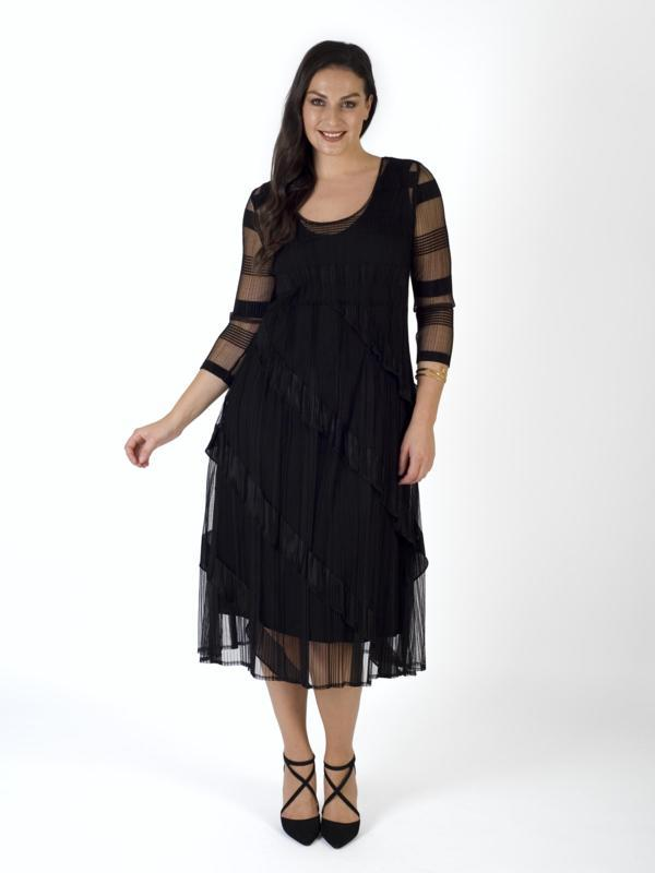 Black Sheer Stripe & Frill Trim Crush Pleat Dress