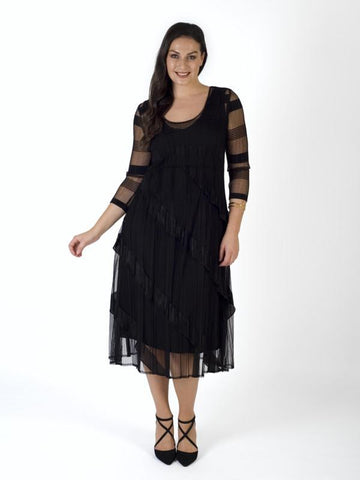 A Black Sheer Stripe & Frill Trim Crush Pleat Dress- Spring 2019