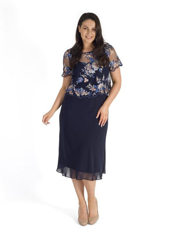 Navy Emb. Scallop Trim Bodice & Chiffon Dress