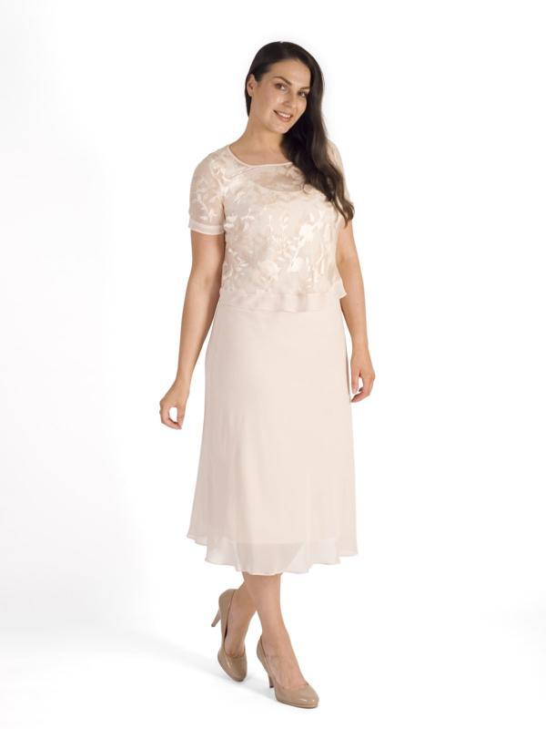 Blush Chiffon Trim Devoree Top & Chiffon Dress Set