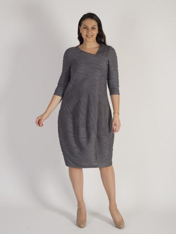 Grey Wavyline Stripe Jersey Dress