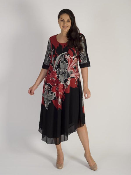 Ruby/Black Garland Floral Placement Mesh Trim Jersey Dress
