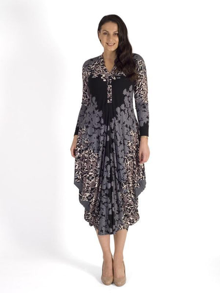 Grey/Mocha Floral Border Jersey Dress -  New Delivery by popular demand