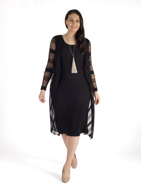 Black Sheer Stripe Trim Crush Pleat Mock 2 Piece Dress