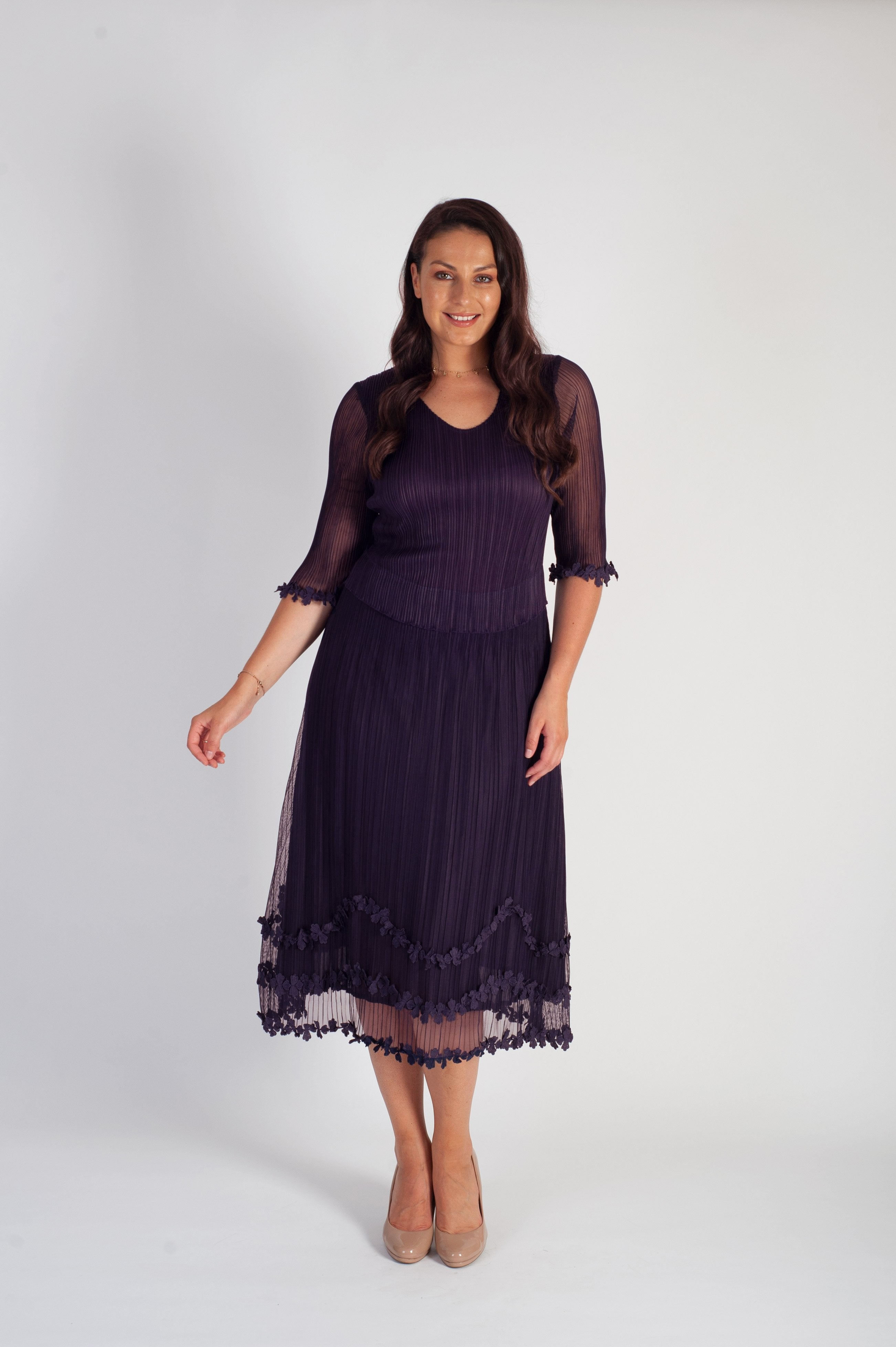 Grape Mock Layer Daisy Chain Trim Crush Pleat Mesh Dress
