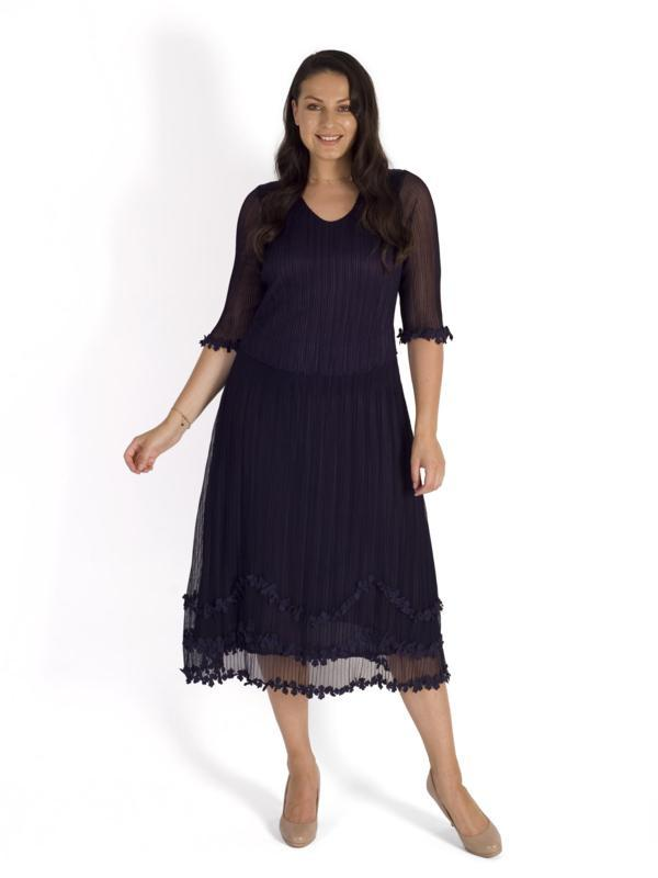 A Grape Mock Layer Daisy Chain Trim Crush Pleat Mesh Dress EXCLUSIVE to CHESCADIRECT