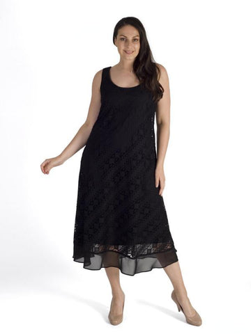 Black Chiffon Trim Diagonal Stripe Lace Dress