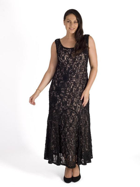 Black Cornelli Embroidered Lace Dress With Contrast Lining