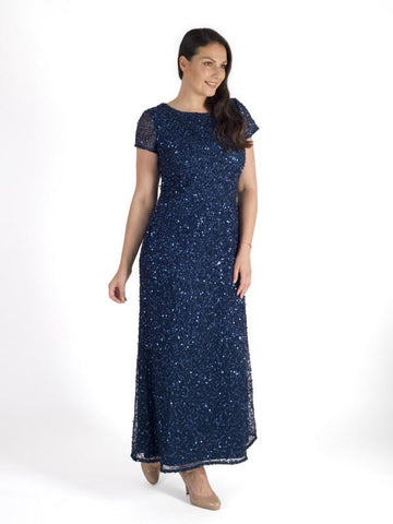 Deep Blue Allover Sequin Short Sleeve Dress