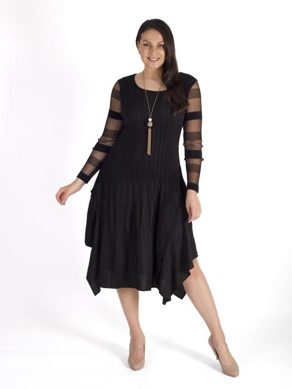 Black Sheer Stripe Trim Layered Crush Pleat Dress