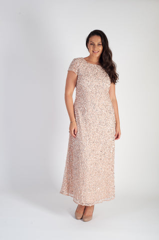 Blush Allover Sequin Short Sleeve Dress