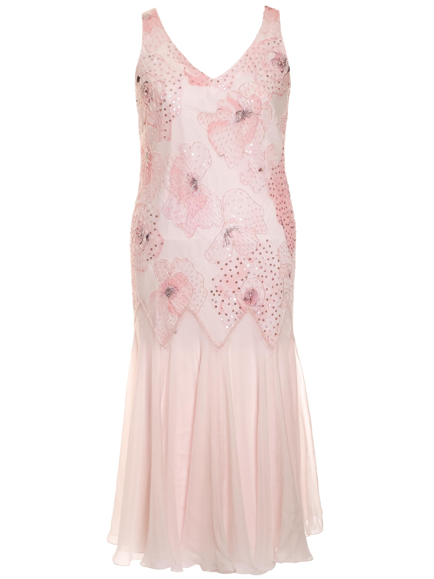 NOW £135 Petal Printed Silk Beaded Dress