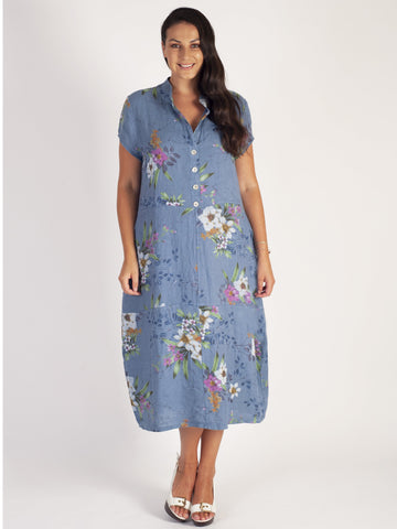 Blue Stand Collar Japanese Floral Linen Dress