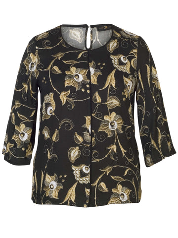 Eugen Klein Gold Printed L/S Tunic On Black Ground