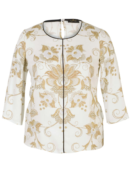 Gold Printed L/S Tunic On Cream Ground