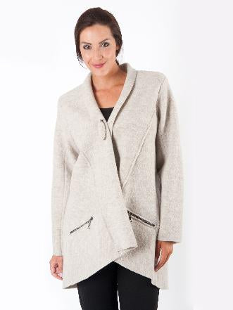 Beige Zip Pocket Boil Wool Coat