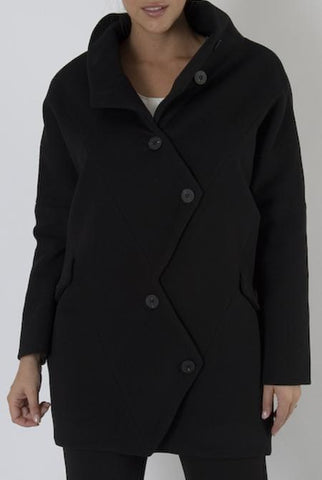 Black Wool Button Detailed Coat