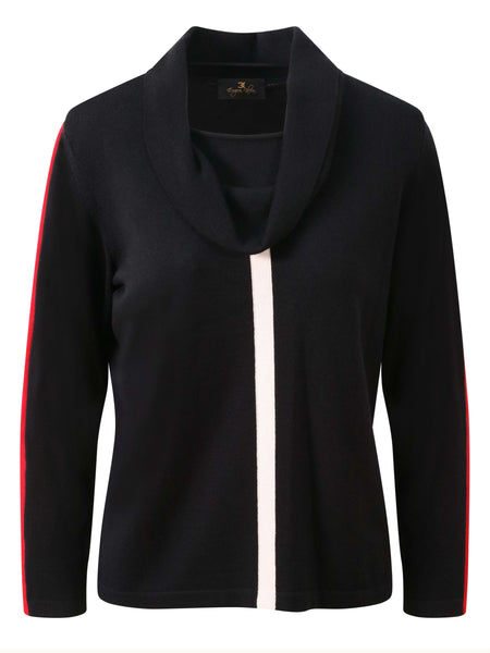 Eugen Klein Black/Ivory/Red Cowl Neck Jumper with Ivory and Red Stripe Detail