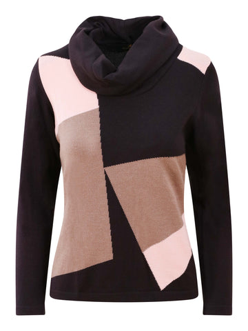 Eugen Klein Grey/Pink Colour Block Cowl Neck Jumper
