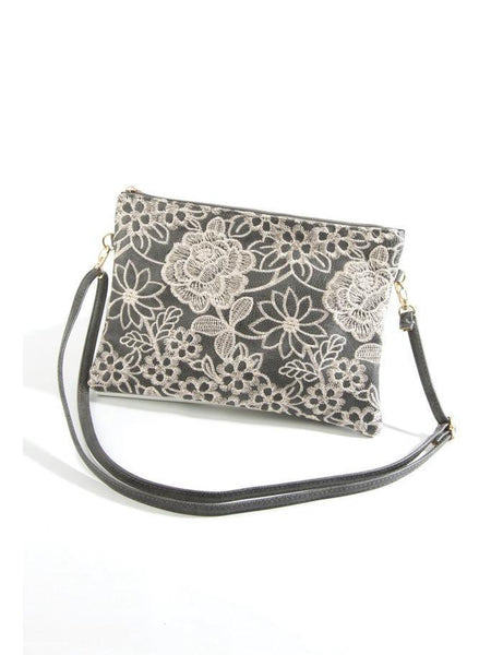 Dark Grey Lace Look Bag