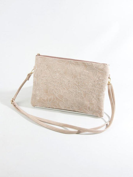 Dusty Pink Lace Look Bag