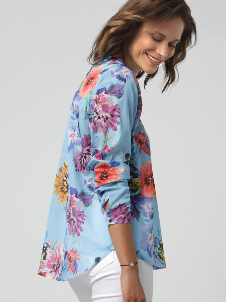 Erfo Multi V-Neck Floral L/S Printed Blouse