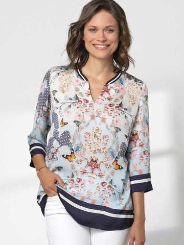 Erfo Multi Flower Print Top With Rib Cuff, Hem and Neck