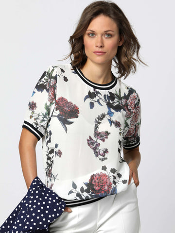 Erfo Multi Flower Round Neck Woven T-Shirt