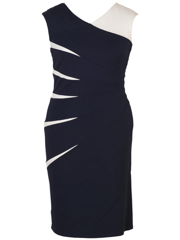 Navy Ponti Dress With Contrast Inserts