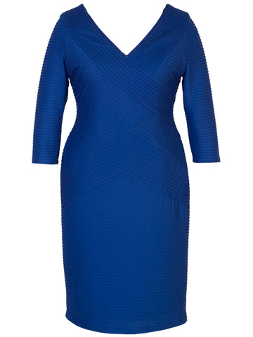 Royal Blue Pintuck Jersey Dress With 3/4 Length Sleeves