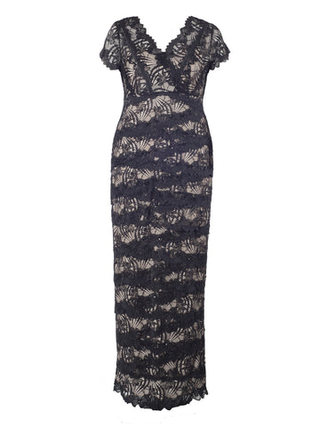 Black/Beige Layered Lace Long Dress
