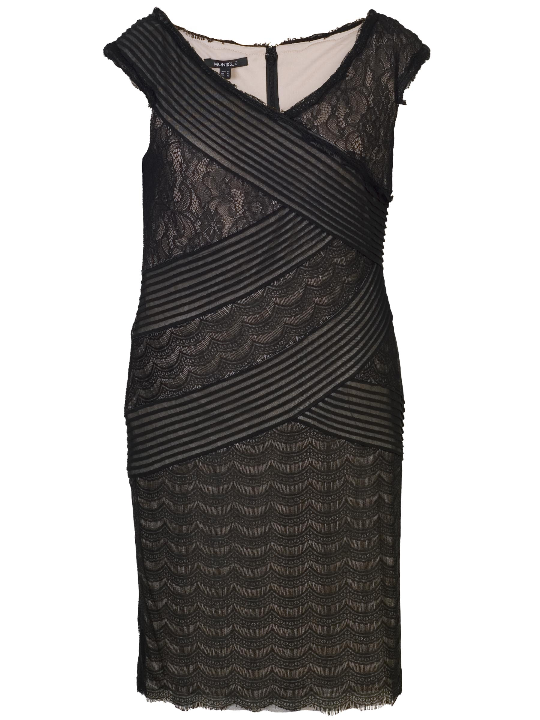 Black Lace Pleat Bandage Dress With Champagne Lining