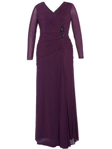 Aubergine Ruched Bodice Jewel Evening Dress