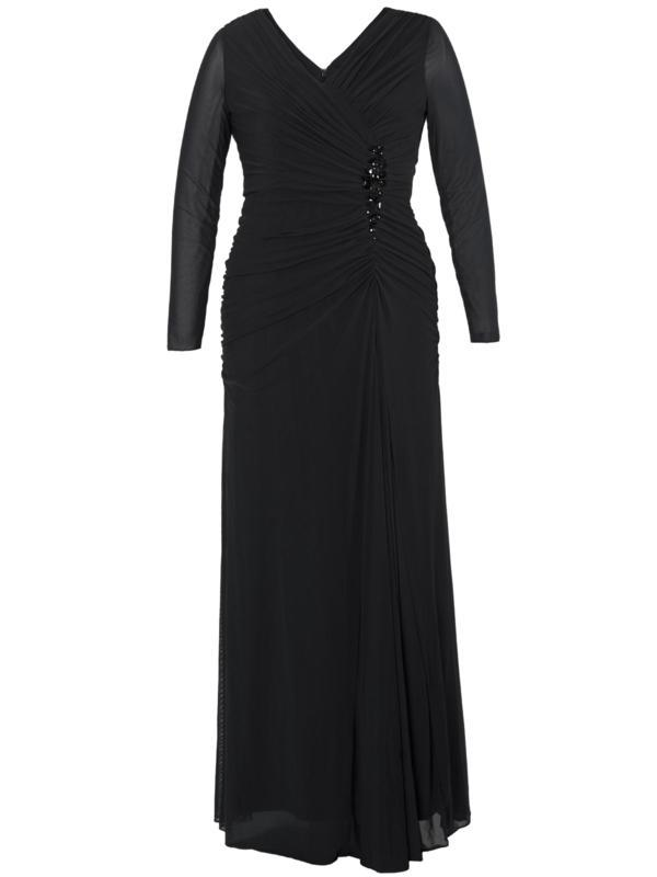 Black Ruched Bodice Jewel Evening Dress