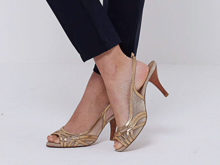 Gold Metallic Slingbacks