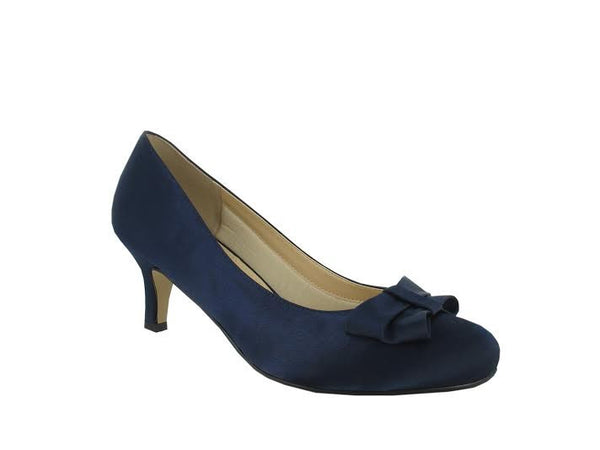 Navy Satin Bow Detail 'Marilyn' D Fit Shoe