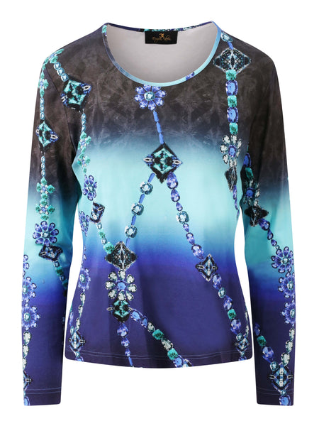 Eugen Klein Blue/Turquoise Shaded Printed Jersey Top