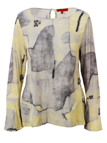 Vetono yellow/Grey Printed Long Sleeve Blouse