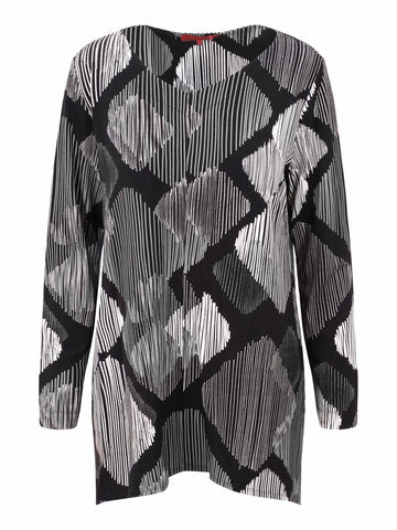 Vetono Black/Ivory Printed Jersey Tunic With Dipped Hem