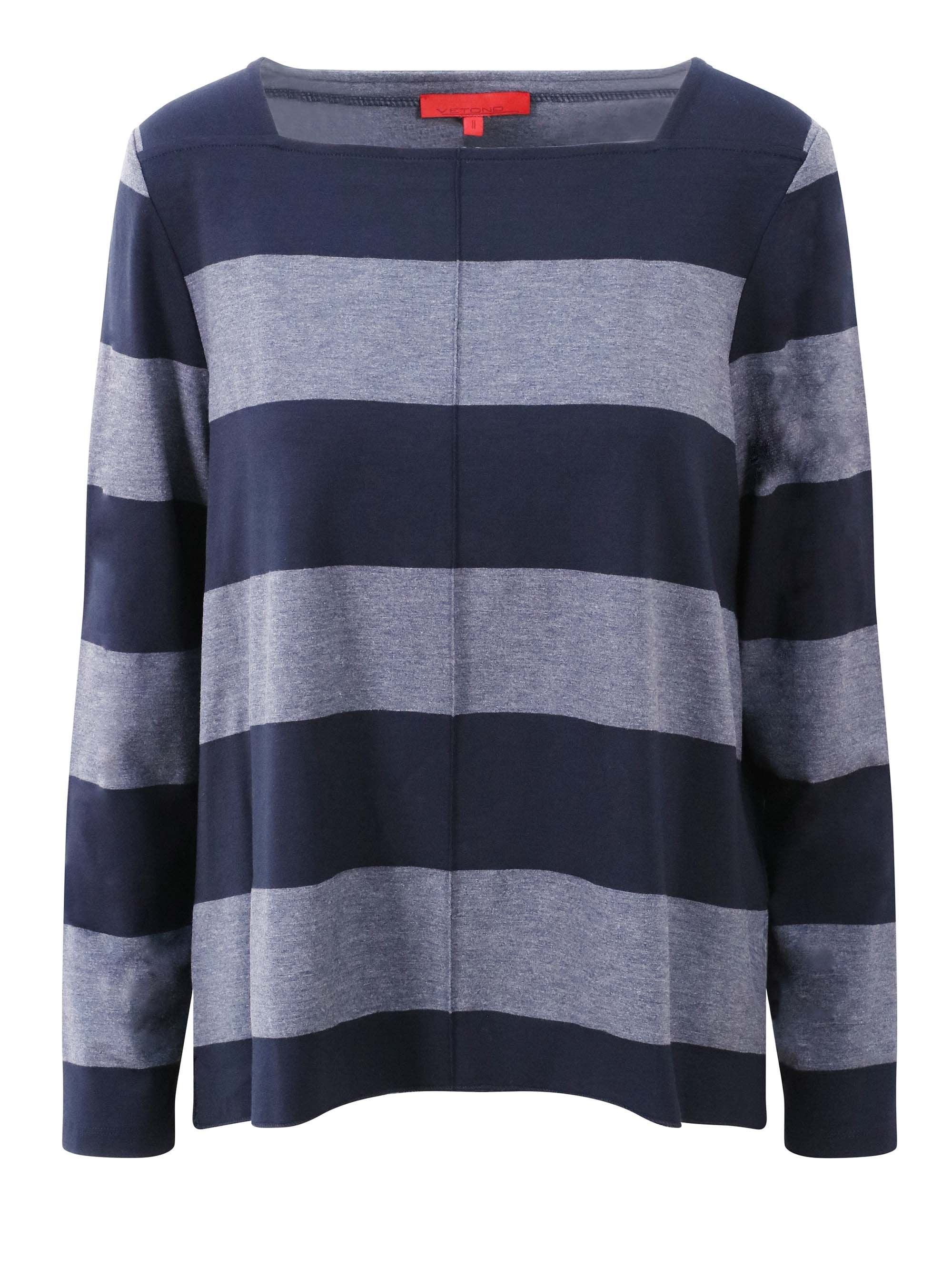 Vetono Blue/Grey Striped Jersey Square Neck Top