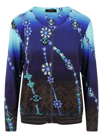 Eugen Klein Blue/Turquoise Shaded Printed Jersey Cardigan