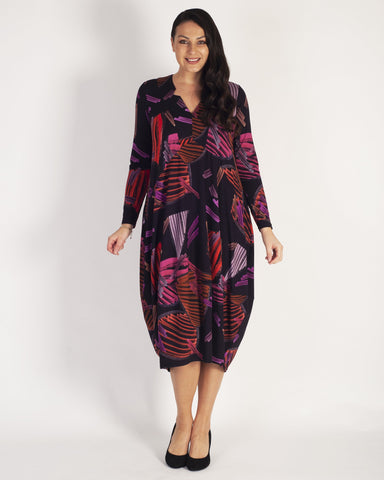 Black Tulip Abstract Strokes Printed Notch Neck Jersey Dress